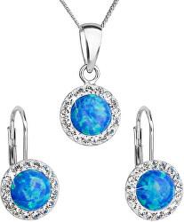 Trblietavá súprava šperkov 39160.1 & blue s.opal (náušnice, retiazka, prívesok)