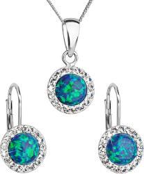 Trblietavá súprava šperkov 39160.1 & green s.opal (náušnice, retiazka, prívesok)