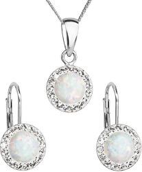 Třpytivá souprava šperků s krystaly Preciosa 39160.1 & white s.opal (náušnice, řetízek, přívěsek)