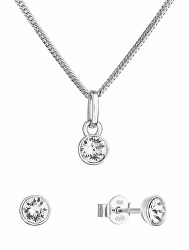 Trblietavá súprava šperkov s kryštálmi Swarovski 39177.1 (náušnice, retiazka, prívesok)