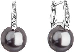 Úžasné strieborné náušnice so syntetickou perlou a kryštály 31301.3