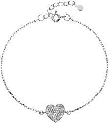Zamilovaný stříbrný náramek Srdce se zirkony 13007.1