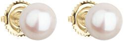 Zlaté náušnice pecky s pravými perlami Pavona 921004.1