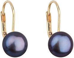 Zlaté visací náušnice s pravými perlami Pavona 921009.3 peacock