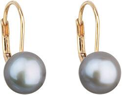 Zlaté visiace náušnice s pravými perlami Pavona 921009.3 grey