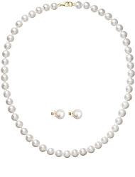 Zvýhodnená súprava zlatých šperkov s perlami 922003.1, 921042.1 (náhrdelník, náušnice)
