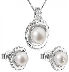 Luxusná strieborná súprava s pravými perlami Pavona 29026.1 (náušnice, retiazka, prívesok)