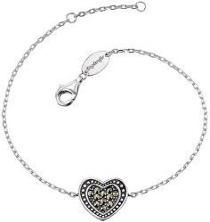 Stříbrný náramek Srdce s markazity ERB-HEART-MA