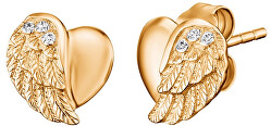 Pozlátené strieborné náušnice Srdce s anjelským krídlom a zirkónmi ERE-LILHW-STG