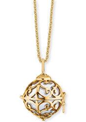 Pozlacený náhrdelník Andělský zvonek s bílou rolničkou ERN-ER-01-XS-G
