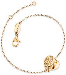 Pozlátený strieborný náramok Srdce s anjelským krídlom a zirkónmi ERB-LILHW-G