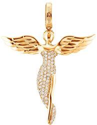 Pozlacený stříbrný přívěsek Anděl se zirkony ERP-ANGEL-G