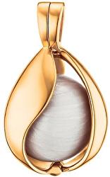 Pozlacený stříbrný přívěsek Andělský zvonek Slza z nebe s bílou rolničkou ERP-20-TEAR-SG