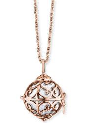 Růžové pozlacený náhrdelník Andělský zvonek s bílou rolničkou ERN-ER-01-XS-R