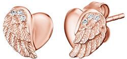 Růžově zlacené stříbrné náušnice Srdce s andělským křídlem a zirkony ERE-LILHW-STR