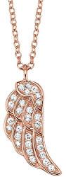 Růžově zlacený stříbrný náhrdelník Křídlo se zirkony ERN-LILWING-Z-R