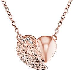 Růžově zlacený stříbrný náhrdelník Srdce s křídlem a zirkony ERN-LILHW-R