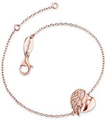 Růžově zlacený stříbrný náramek Srdce s andělským křídlem a zirkony ERB-LILHW-R