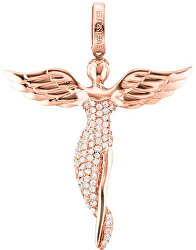 Růžově zlacený stříbrný přívěsek Anděl se zirkony ERP-ANGEL-R