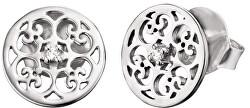 Stříbrné náušnice s ornamentem a zirkony ERE-ORNA-ZI-ST