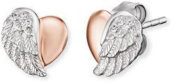 Stříbrné náušnice Srdce s andělským křídlem a zirkony ERE-LILHEARTWBI
