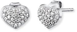 Strieborné náušnice Srdce sa zirkónmi ERE-HEART-ZI-ST