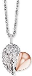 Stříbrný bicolor náhrdelník Srdce s křídlem a zirkony ERN-LILHEARTWBI