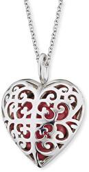 Strieborný náhrdelník Anjelský zvonček červené srdce ERN-05-HEART-S