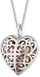 Strieborný náhrdelník Anjelský zvonček ružové srdce ERN-16-HEART-S
