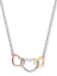 Stříbrný náhrdelník s barevnými srdci ERN-WITHLOVE-03