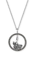 Krásny strieborný náhrdelník s markazity ERN-GINKGO-MA (retiazka, prívesok)