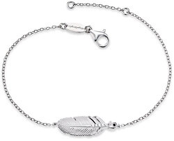 Stříbrný náramek Peříčko se zirkony ERB-LILFEDER-ZI