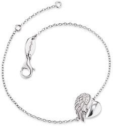 Strieborný náramok Srdce s anjelským krídlom a zirkónmi ERB-LILHEARTWIN