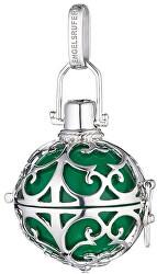 Strieborný prívesok Anjelský zvonček so zelenou rolničkou ER-03