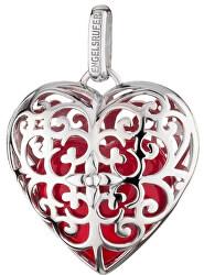 Strieborný prívesok Anjelský zvonček srdce s červenou rolničkou ERP-05-HEART