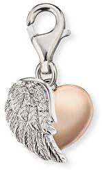 Strieborný bicolor prívesok na náramok Srdce s krídlom ERC-HEARTWINGBI