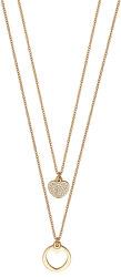 Dvojitý pozlacený náhrdelník s přívěsky ESNL01432242