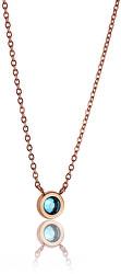 Elegantný bronzový náhrdelník s modrým kryštálom WN1011R