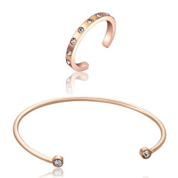 Luxusní bronzová sada s krystaly WS050R (náramek, prsten)