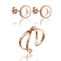 Módní sada bronzových šperků WS053R (náušnice, prsten)