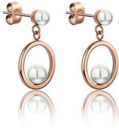 Oceľové náušnice s perličkami WE1025R