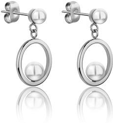 Ocelové náušnice s perličkami WE1025S