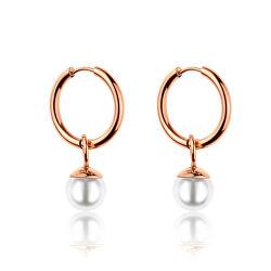 Pozlacené kruhové náušnice 2v1 s perličkami WE1037R