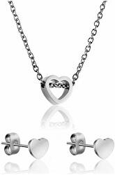 Romantický set náhrdelníku a náušnic ve tvaru srdce WS020S
