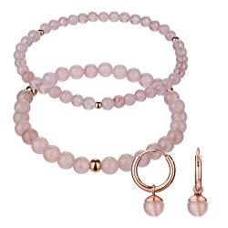 Rózsaszín gyöngy karkötő és fülbevaló készlet WS060R