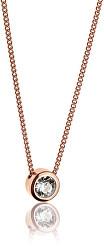 Ružovo pozlátený náhrdelník s kryštálom WN1010R