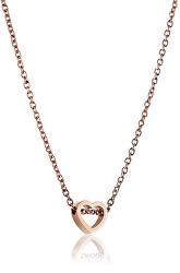 Růžově pozlacený ocelový náhrdelník se srdíčkem WN1003R