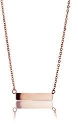 Ružovo pozlátený oceľový náhrdelník WN1012R