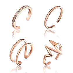 Sada minimalistických bronzových prstenů WS049R
