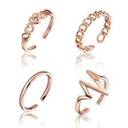 Sada minimalistických bronzových prstenů WS055R